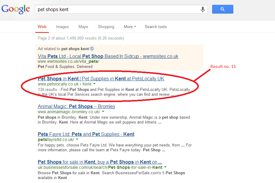 pet shop google result