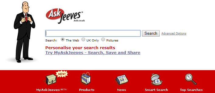 Ask Jeeves Search Engine 2005